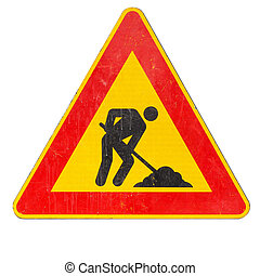 Road works sign isolated