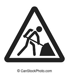 Road works sign line icon, Traffic and road sign, vector...