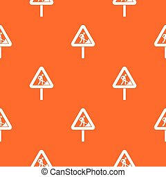 Road works sign pattern seamless - Road works sign pattern...