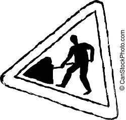 road works sign - rough sketchy drawing style illustration...