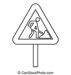 Road works warning traffic sign icon outline style