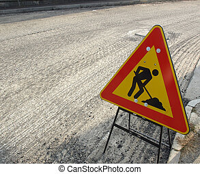 Road works with traffic sign