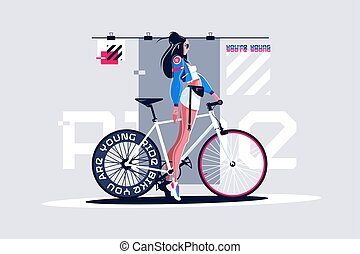roadbike, girl, joli