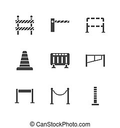 Roadblock flat glyph icons set. Barrier, crowd control barricades, rope stanchion vector illustrations. Black signs for pedastrian safety, roadwork. Silhouette pictogram pixel perfect 64x64.