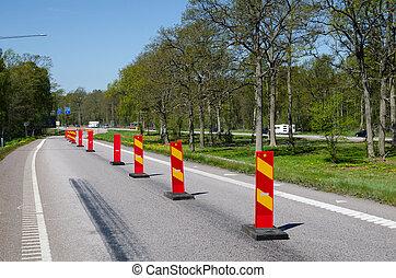 roadblocks, coloridos, fila