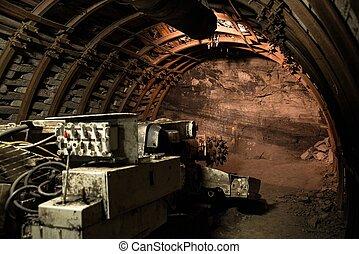 roadheader, brocas, a, túnel, em, rocha