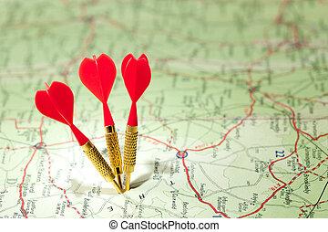 roadmap, vermelho, dardos