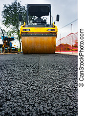 Roadroller low angle view