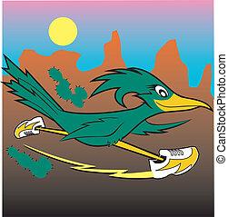 A cartoon roadrunner racing across the canyon