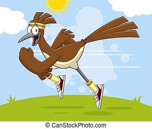 Roadrunner Bird Cartoon Character Jogging. Vector ...