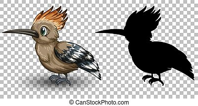 Roadrunner bird cartoon character with its silhouette