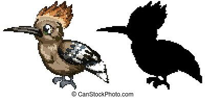 Roadrunner characters and its silhouette on white background