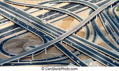 roads, пересечение, главный, антенна, посмотреть