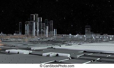 roads., città, vetro, 3d, luminoso, cielo stellato