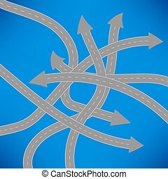 Roads Icon on Blue Background.