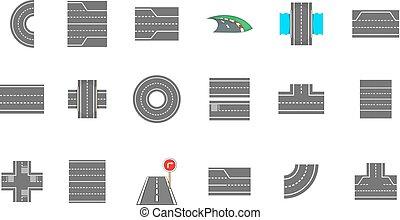 Roads icon set, cartoon style