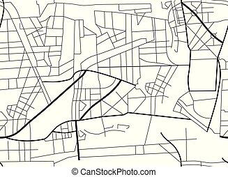 roads., map., piano, illustrazione, città, vettore