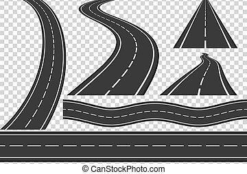 Roads - Set of new asphalt roads, vertical and horizontal...
