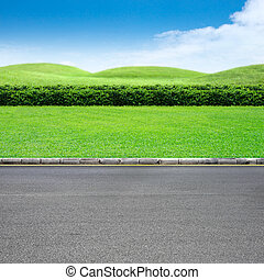 Roadside view and green grass landscape