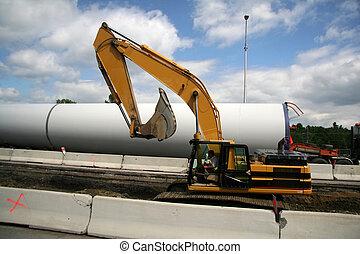 Roadside Excavator Contructing a New Highway