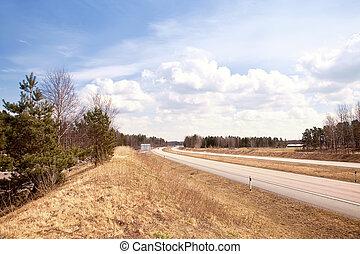 Roadside highway - Spring landscape. Yellow last year's ...