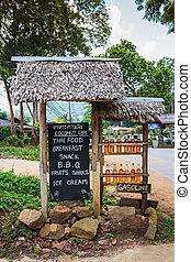 Roadside petrol station - Bottles with gasoline on a rural ...