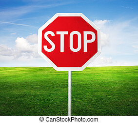 roadside red stop sign in outdoor