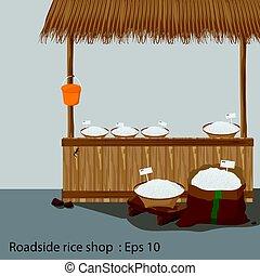 Roadside rice shop Vector illustration