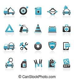 roadside segítség, és, kóc, ikonok