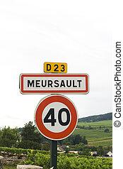 roadsign, aldea, francés, meursault