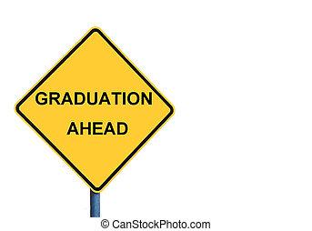 roadsign, amarillo, mensaje, graduación, adelante