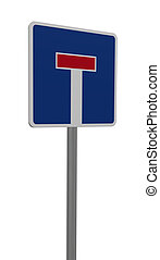 roadsign dead end on white background - 3d illustration