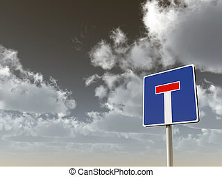 dead end - roadsign dead end under cloudy sky - 3d...