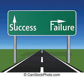roadsign, diritto, autostrada, fallimento, successo