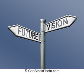future vision road sign on blue background