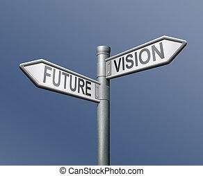roadsign future vision - future vision road sign on blue...
