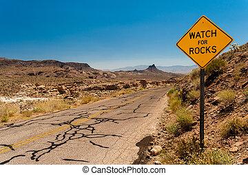 Roadsign in the Mojave Desert