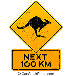 Roadsign Kangaroos Next 100 km - Yellow Kangaroo roadsign...