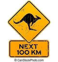 roadsign, kangoeroes, volgende, honderd, km