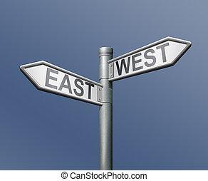 roadsign, leste, oeste