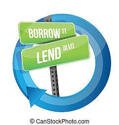 roadsign, prendere prestito, parole, prestare