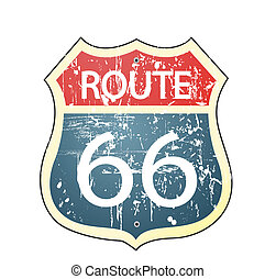 roadsign, ruta, grunge, 66