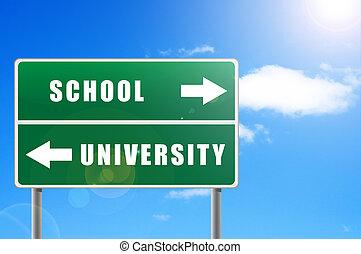 roadsign, school, universiteit, hemel, achtergrond.