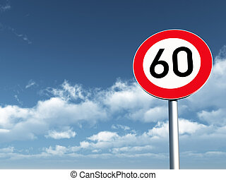 speed limit - roadsign speed limit sixty under cloudy blue...