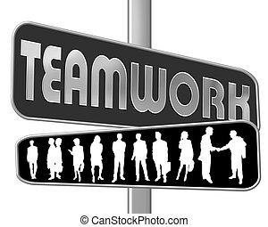 roadsign, -, teamwork