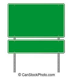 roadsign, verde, em branco