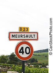 roadsign, vila, francês, meursault