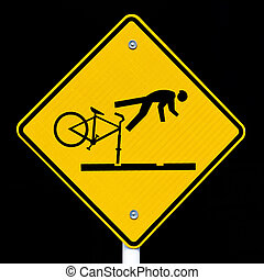 Roadsign warning cyclists of dangerous tram tracks