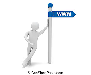 roadsign, www, hombre, palabra, 3d