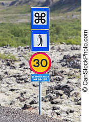 roadsigns, em, a, oeste, de, islândia